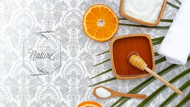 Plat leggen van body butter en honing met sinaasappelplak