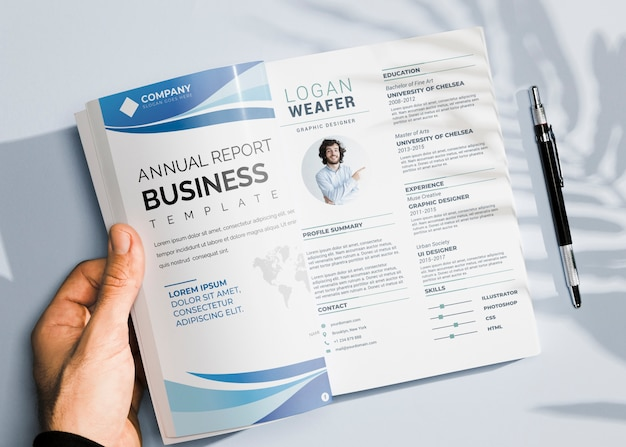 Plat leggen van brochure concept mock-up