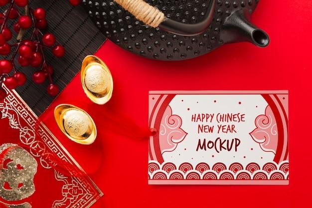 Plat leggen van chinees nieuwjaar mock-up