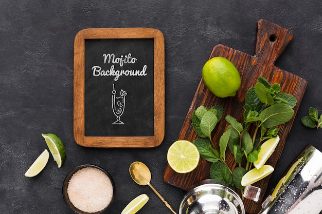 Plat leggen van cocktail mock-up concept