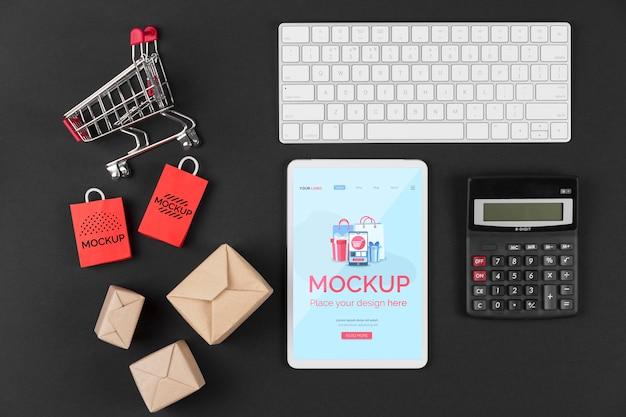 Plat leggen van cyber maandag concept mock-up