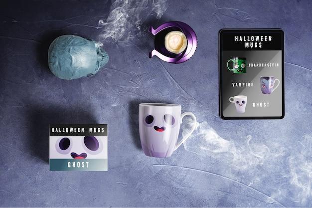 Plat leggen van halloween geest concept