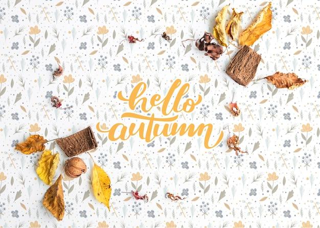 Plat leggen van kleurrijke hallo herfst achtergrond