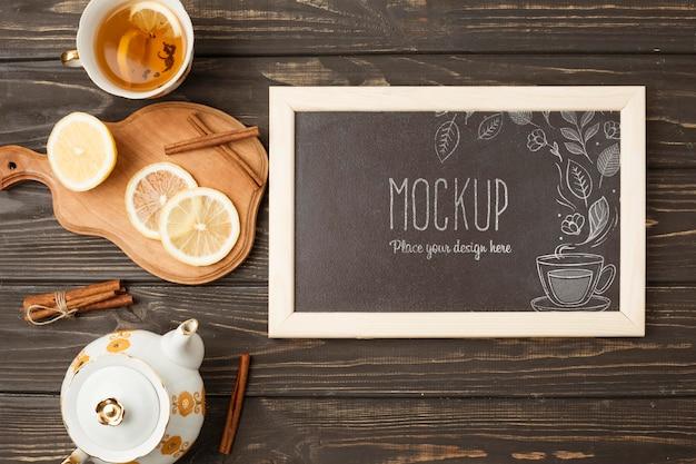 Plat leggen van kruidenthee concept mock-up