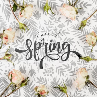 Plat leggen van lente rozen