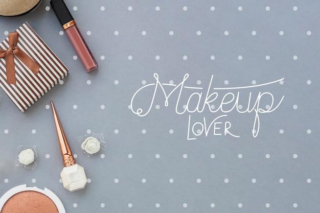 Plat leggen van make-up concept mock-up