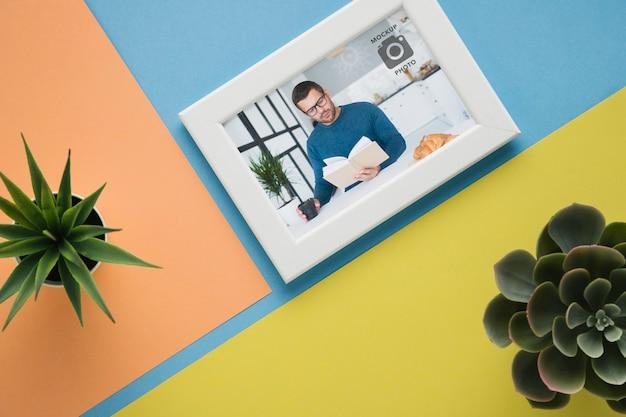 Plat leggen van minimalistisch frame met scculents