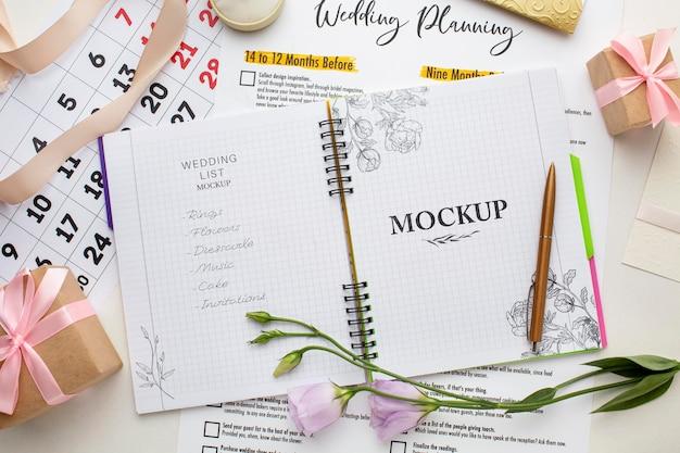 Plat leggen van prachtige bruiloft concept mock-up