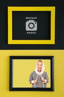 Plat leggen van rechthoekig frame voor foto's