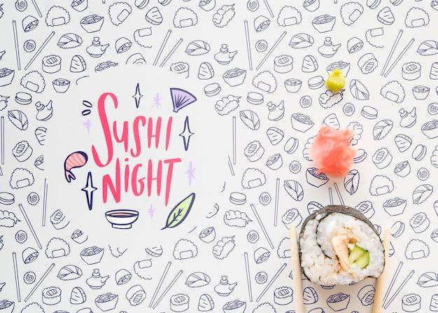 Plat leggen van sushi op schattige achtergrond