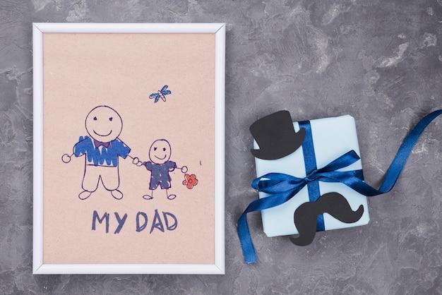 Plat leggen van vaderdag concept mock-up
