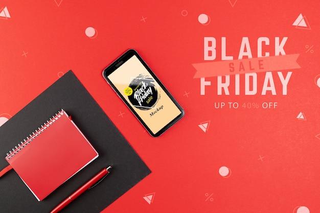 Plat leggen van zwarte vrijdag concept mock-up