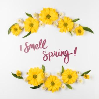 Plat leggen voorjaar mockup met copyspace en frame