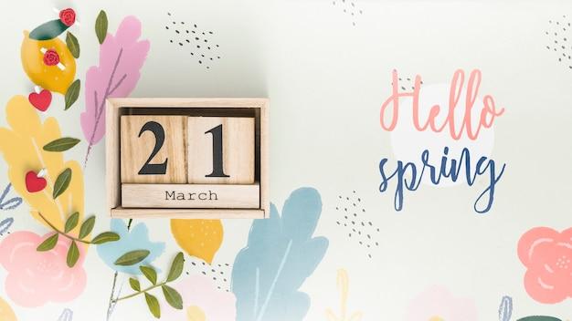Plat leggen voorjaar mockup met copyspace