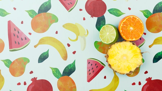 Plat leggen zomer mockup met copyspace en fruit