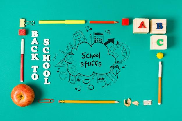 Plat rechthoekig frame voor terug naar school-evenement