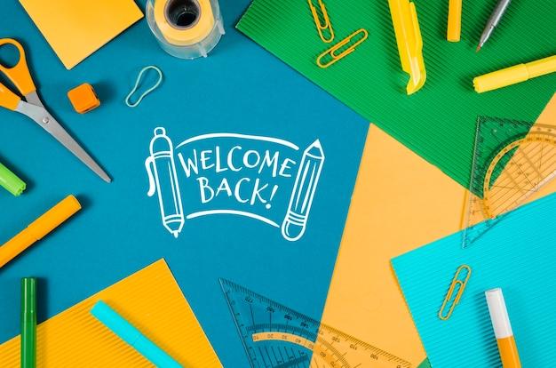Plat terug naar school met benodigdheden