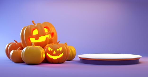 Plataforma minimalista de halloween con calabazas sobre fondo morado para exhibición de productos. representación 3d