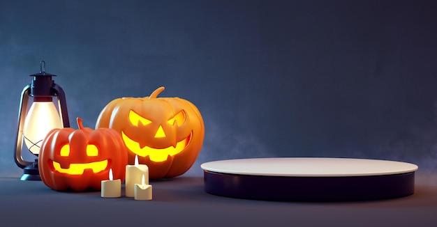 Plataforma de podio de halloween con calabazas sobre un fondo oscuro para la presentación del producto. representación 3d