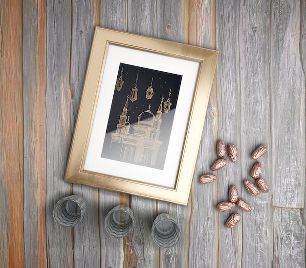 Platliggend arrangement met lijst, gedroogde dadels en glazen