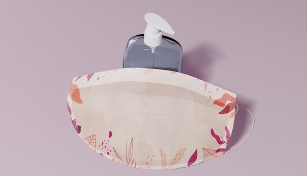 Platliggend arrangement met masker en zeep