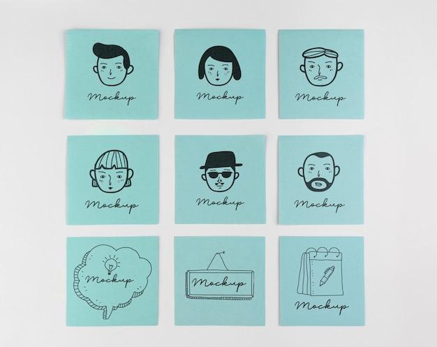 Platliggend arrangement van mock-up stickers Gratis Psd