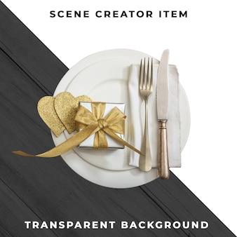 Plato y cubiertos con caja de regalo, aislado con trazado de recorte.