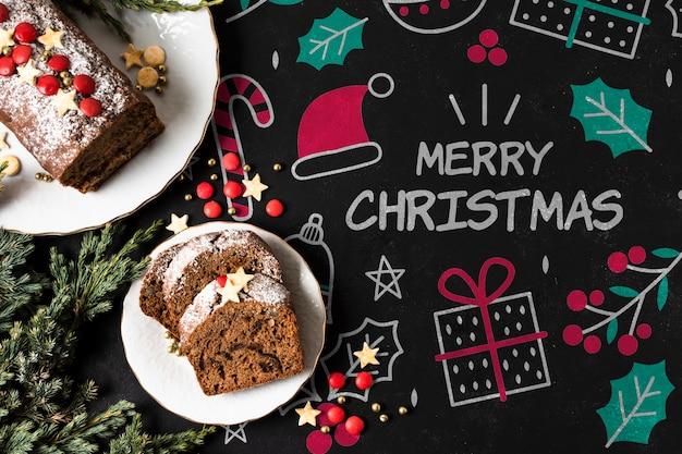 Plato con galletas preparadas para vacaciones de navidad