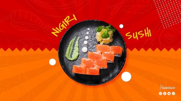 Plato de nigiri sushi para restaurante de comida japonesa, oriental o asiática, o sushibar