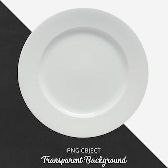 Plato redondo en cerámica o porcelana blanca transparente.