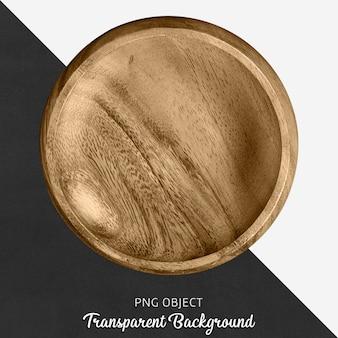 Plato redondo de madera sobre fondo transparente