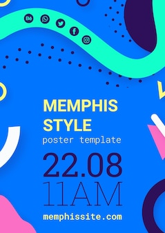 Platte blauwe memphis stijl poster