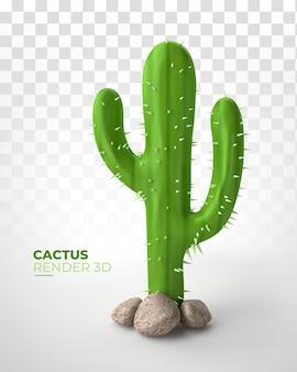 Platte cactus met grappige stijl 3d render