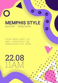 Platte gele memphis stijl poster