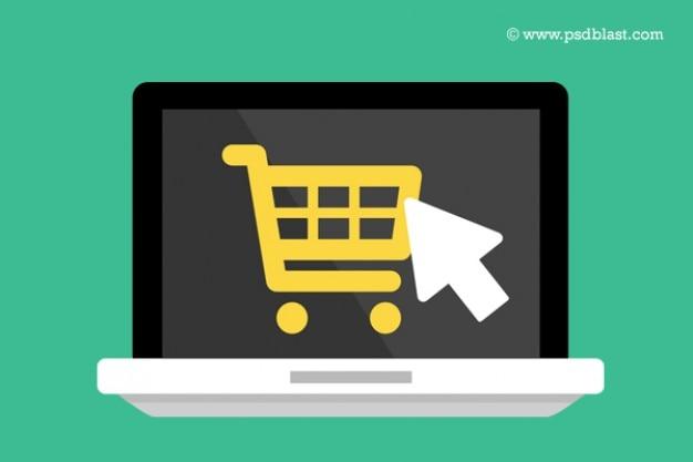 Platte laptop pictogram met het winkelwagentje