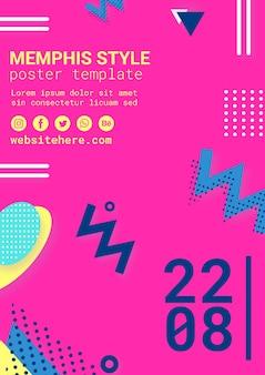 Platte roze memphis stijl poster
