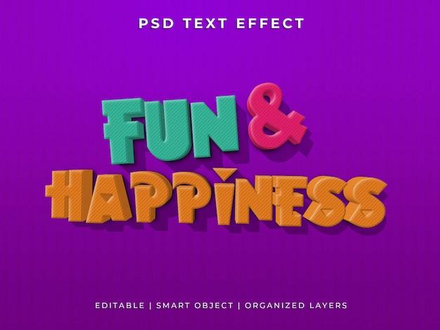 Plezier en geluk 3d teksteffect