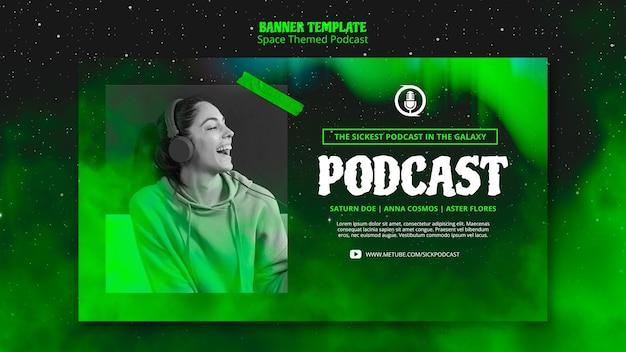 Podcast-bannerthema met ruimtethema