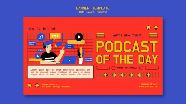Podcast horizontale banner sjabloon