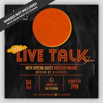 Podcast live flyer banner plantilla de redes sociales