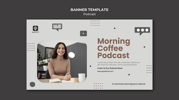 Podcast-sjabloon voor spandoek met foto