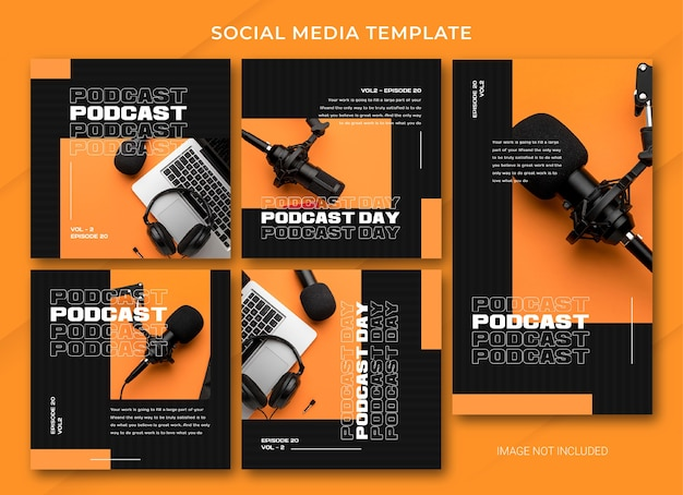 Podcast social media bundle-sjabloon