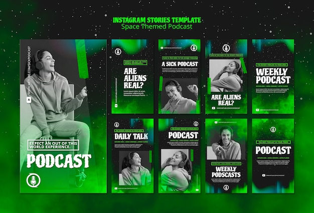 Podcastsjabloon met ruimtethema voor instagram-verhalen