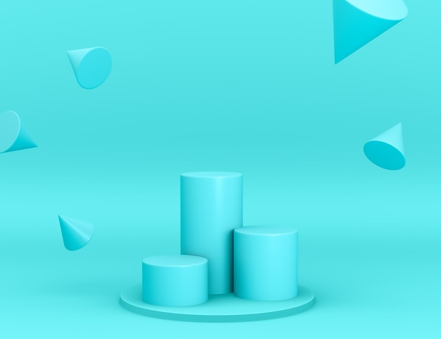 Podi geometrici ciano 3d per il posizionamento del prodotto con coni in levitazione e colore modificabile