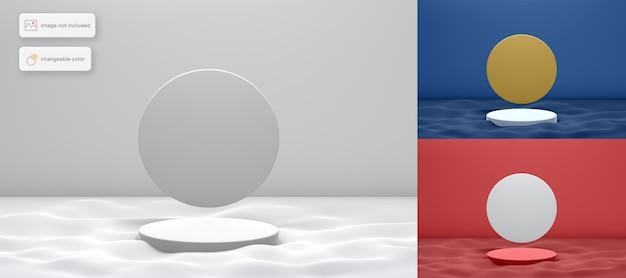 Podio 3d en la ola con colocación de productos de fondo en círculo