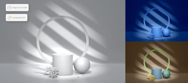 Podio 3d simple con flores y sombras en la colocación del producto de fondo