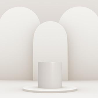 Podio blanco geométrico 3d para la colocación del producto con fondo de planos y color editable