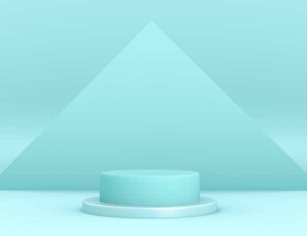 Podio ciano geometrico 3d per il posizionamento del prodotto con sfondo triangolare e colore modificabile