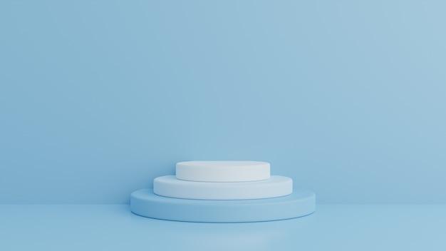 Podio en composición azul abstracta, render 3d, ilustración 3d