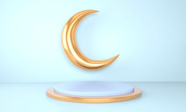 Podio de la escena 3d de ramadán kareem con la luna.